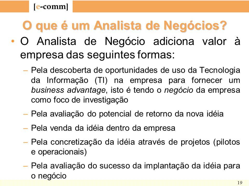 [ e-comm ] 19 O que é um Analista de Negócios? O Analista de Negócio adiciona valor à empresa das seguintes formas: –Pela descoberta de oportunidades