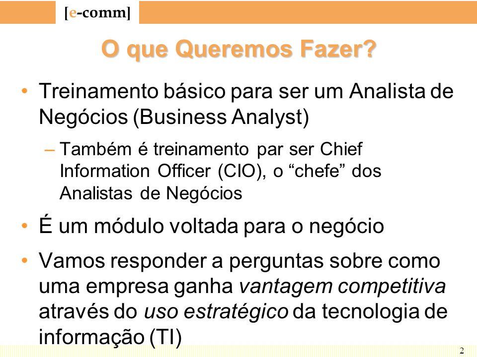 [ e-comm ] 2 O que Queremos Fazer? Treinamento básico para ser um Analista de Negócios (Business Analyst) –Também é treinamento par ser Chief Informat