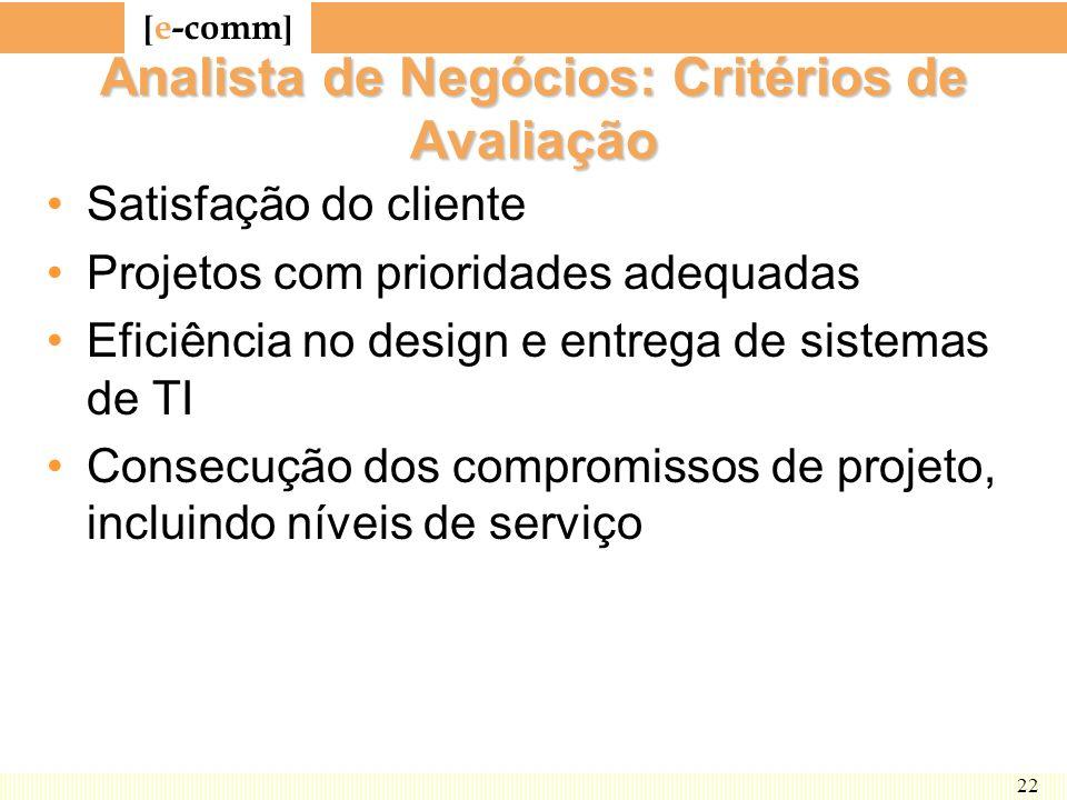 [ e-comm ] 22 Analista de Negócios: Critérios de Avaliação Satisfação do cliente Projetos com prioridades adequadas Eficiência no design e entrega de