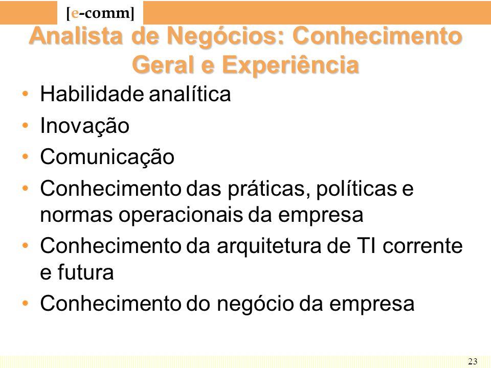 [ e-comm ] 23 Analista de Negócios: Conhecimento Geral e Experiência Habilidade analítica Inovação Comunicação Conhecimento das práticas, políticas e