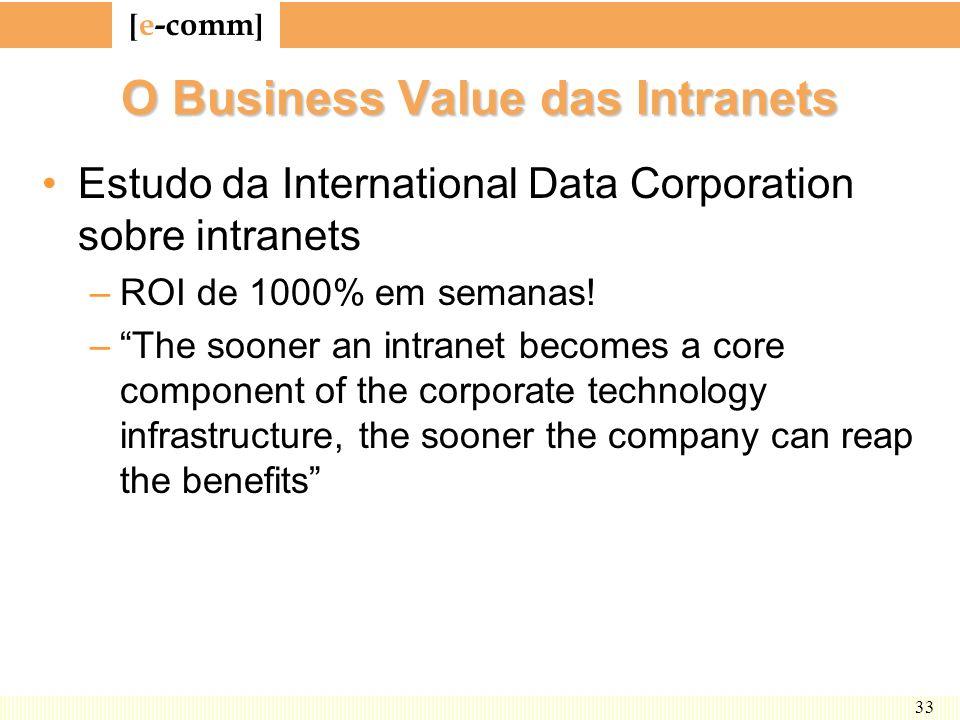 [ e-comm ] 33 O Business Value das Intranets Estudo da International Data Corporation sobre intranets –ROI de 1000% em semanas! –The sooner an intrane