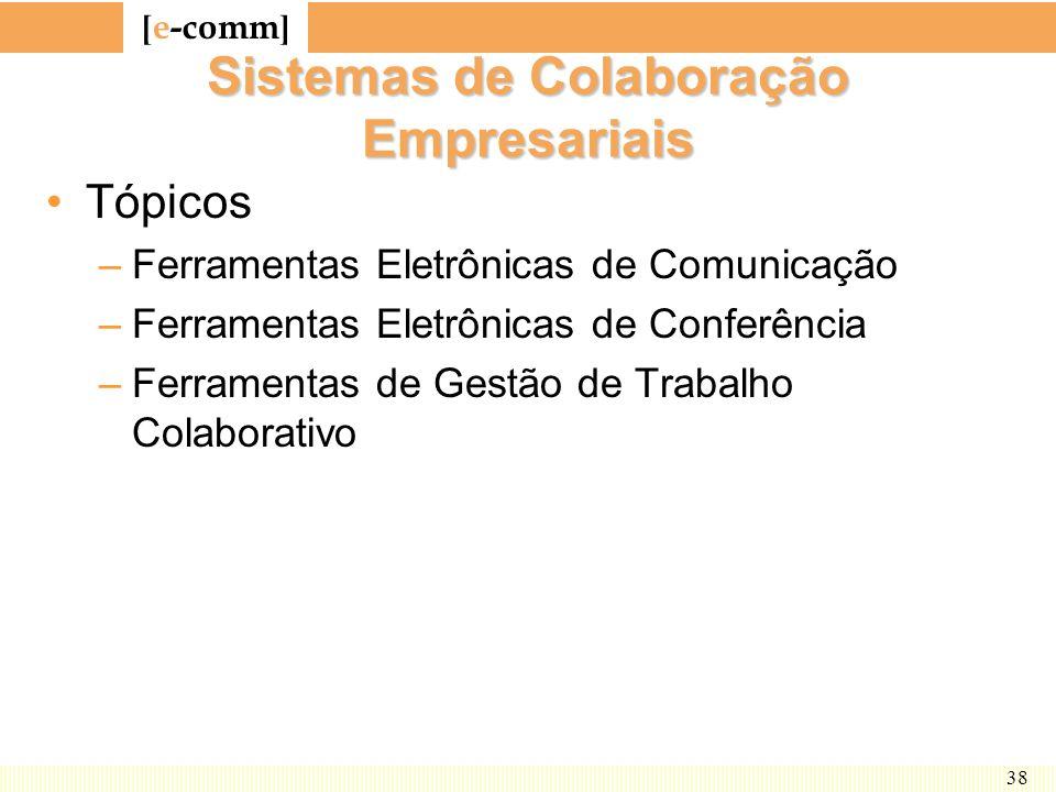 [ e-comm ] 38 Sistemas de Colaboração Empresariais Tópicos –Ferramentas Eletrônicas de Comunicação –Ferramentas Eletrônicas de Conferência –Ferramenta