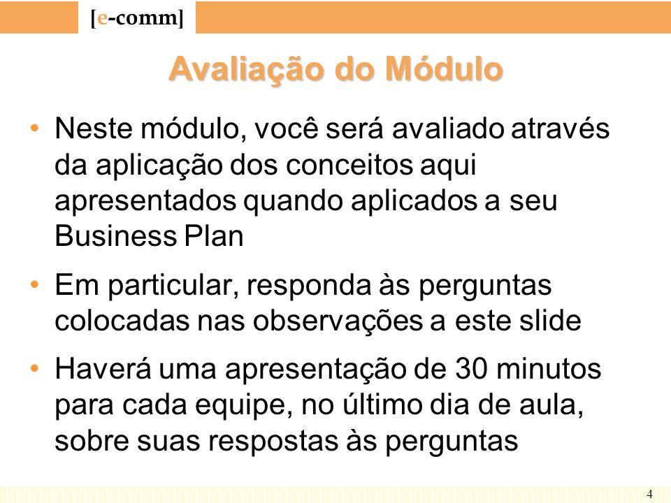 [ e-comm ] 4 Avaliação do Módulo Neste módulo, você será avaliado através da aplicação dos conceitos aqui apresentados quando aplicados a seu Business