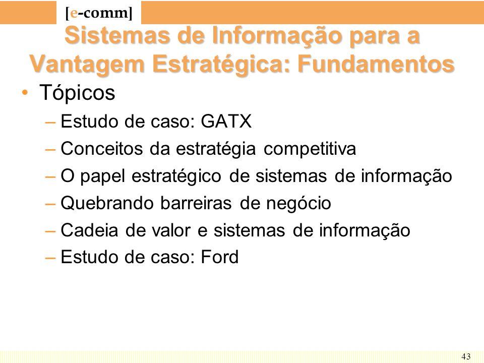 [ e-comm ] 43 Sistemas de Informação para a Vantagem Estratégica: Fundamentos Tópicos –Estudo de caso: GATX –Conceitos da estratégia competitiva –O pa