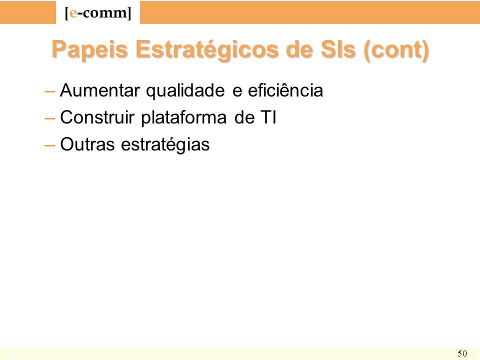 [ e-comm ] 50 Papeis Estratégicos de SIs (cont) –Aumentar qualidade e eficiência –Construir plataforma de TI –Outras estratégias