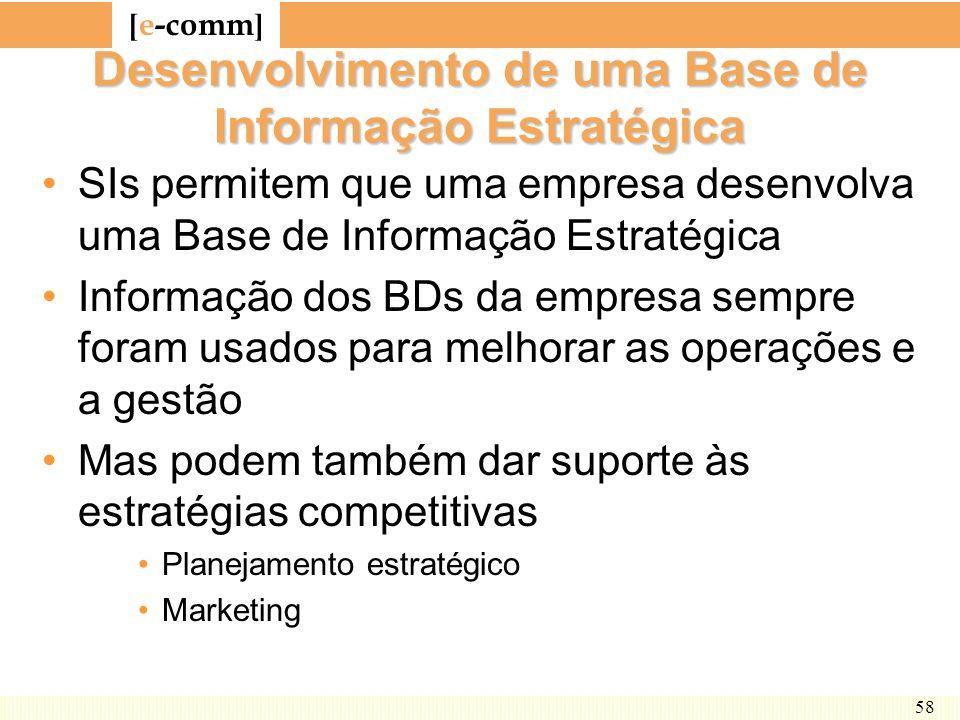 [ e-comm ] 58 Desenvolvimento de uma Base de Informação Estratégica SIs permitem que uma empresa desenvolva uma Base de Informação Estratégica Informa