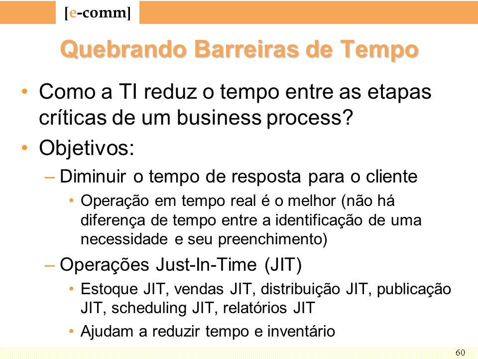 [ e-comm ] 60 Quebrando Barreiras de Tempo Como a TI reduz o tempo entre as etapas críticas de um business process? Objetivos: –Diminuir o tempo de re