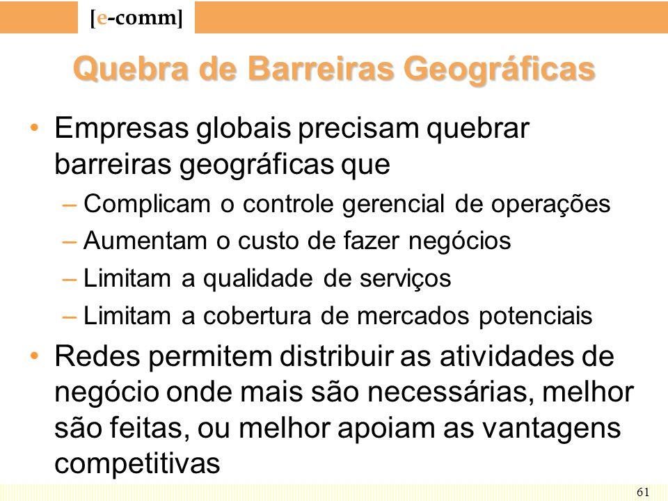 [ e-comm ] 61 Quebra de Barreiras Geográficas Empresas globais precisam quebrar barreiras geográficas que –Complicam o controle gerencial de operações