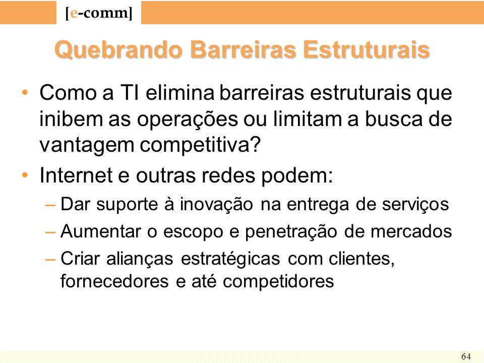 [ e-comm ] 64 Quebrando Barreiras Estruturais Como a TI elimina barreiras estruturais que inibem as operações ou limitam a busca de vantagem competiti