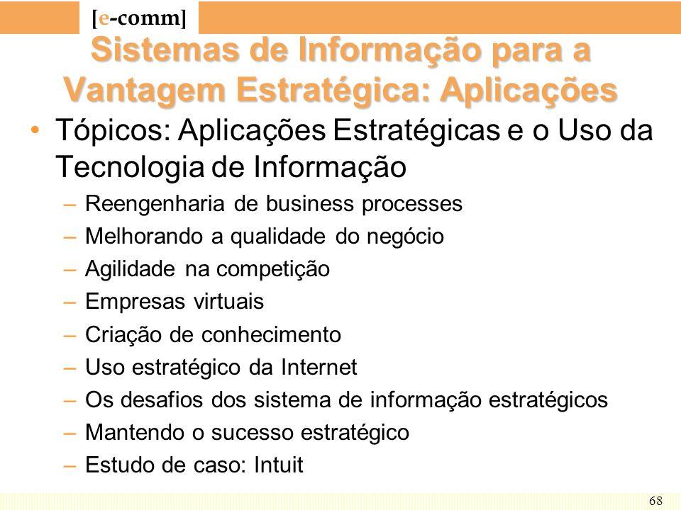[ e-comm ] 68 Sistemas de Informação para a Vantagem Estratégica: Aplicações Tópicos: Aplicações Estratégicas e o Uso da Tecnologia de Informação –Ree