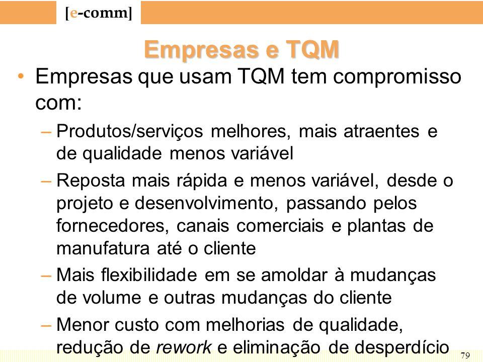 [ e-comm ] 79 Empresas e TQM Empresas que usam TQM tem compromisso com: –Produtos/serviços melhores, mais atraentes e de qualidade menos variável –Rep