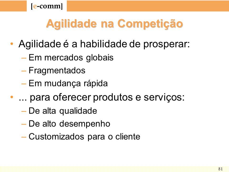 [ e-comm ] 81 Agilidade na Competição Agilidade é a habilidade de prosperar: –Em mercados globais –Fragmentados –Em mudança rápida... para oferecer pr
