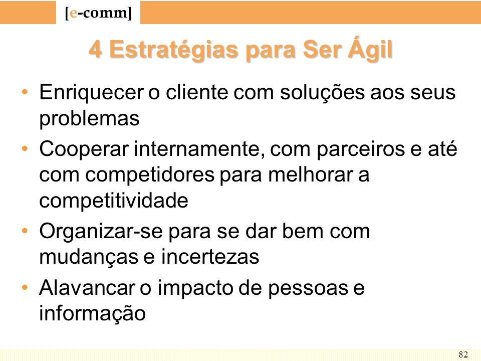 [ e-comm ] 82 4 Estratégias para Ser Ágil Enriquecer o cliente com soluções aos seus problemas Cooperar internamente, com parceiros e até com competid