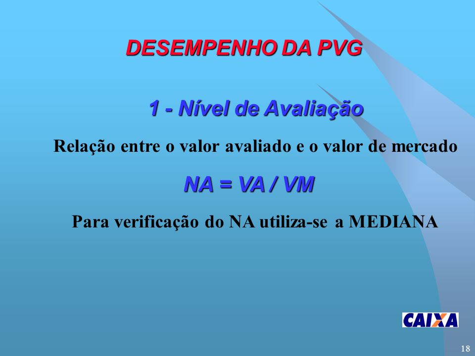 18 1 - Nível de Avaliação Relação entre o valor avaliado e o valor de mercado NA = VA / VM Para verificação do NA utiliza-se a MEDIANA DESEMPENHO DA PVG