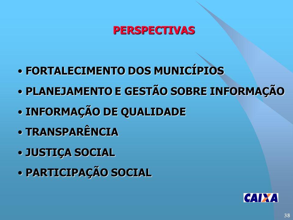 38 PERSPECTIVAS FORTALECIMENTO DOS MUNICÍPIOS FORTALECIMENTO DOS MUNICÍPIOS PLANEJAMENTO E GESTÃO SOBRE INFORMAÇÃO PLANEJAMENTO E GESTÃO SOBRE INFORMAÇÃO INFORMAÇÃO DE QUALIDADE INFORMAÇÃO DE QUALIDADE TRANSPARÊNCIA TRANSPARÊNCIA JUSTIÇA SOCIAL JUSTIÇA SOCIAL PARTICIPAÇÃO SOCIAL PARTICIPAÇÃO SOCIAL