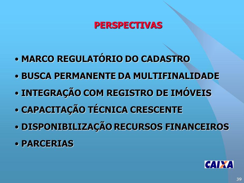 39 PERSPECTIVAS MARCO REGULATÓRIO DO CADASTRO MARCO REGULATÓRIO DO CADASTRO BUSCA PERMANENTE DA MULTIFINALIDADE BUSCA PERMANENTE DA MULTIFINALIDADE INTEGRAÇÃO COM REGISTRO DE IMÓVEIS INTEGRAÇÃO COM REGISTRO DE IMÓVEIS CAPACITAÇÃO TÉCNICA CRESCENTE CAPACITAÇÃO TÉCNICA CRESCENTE DISPONIBILIZAÇÃO RECURSOS FINANCEIROS DISPONIBILIZAÇÃO RECURSOS FINANCEIROS PARCERIAS PARCERIAS