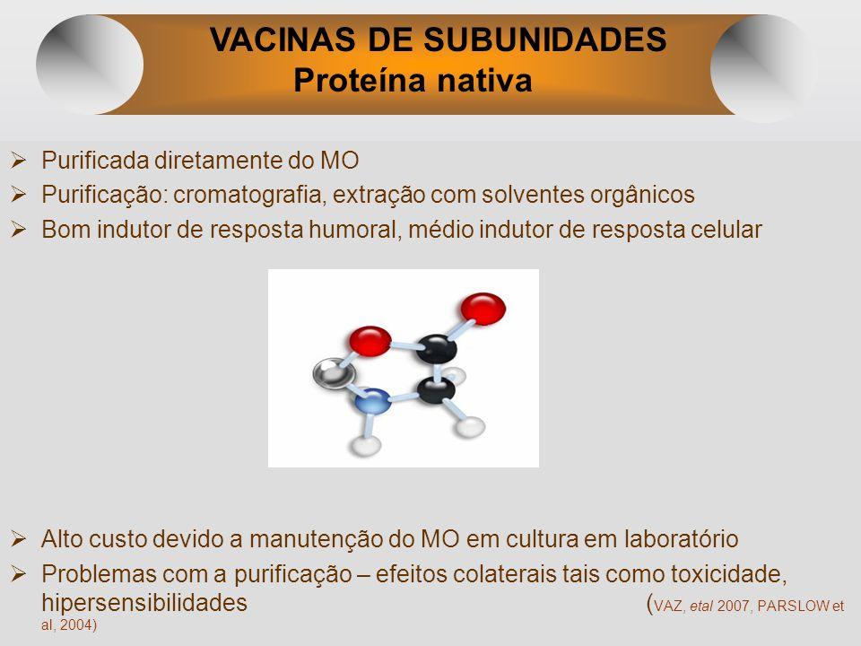 VACINAS DE SUBUNIDADES Proteína nativa Purificada diretamente do MO Purificação: cromatografia, extração com solventes orgânicos Bom indutor de respos