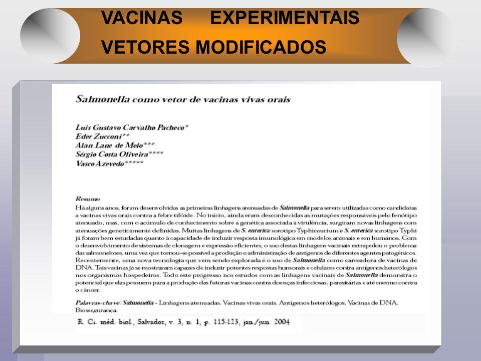 VACINAS EXPERIMENTAIS VETORES MODIFICADOS