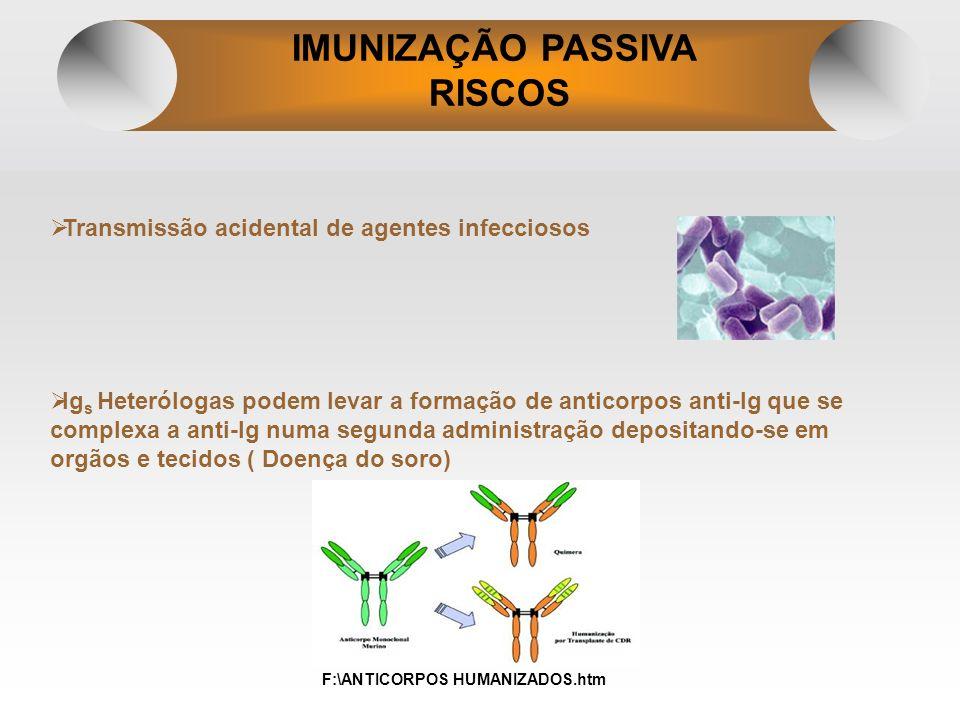IMUNIZAÇÃO PASSIVA RISCOS Transmissão acidental de agentes infecciosos Ig s Heterólogas podem levar a formação de anticorpos anti-Ig que se complexa a