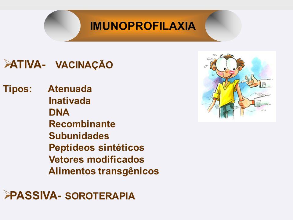 ATIVA- VACINAÇÃO Tipos: Atenuada Inativada DNA Recombinante Subunidades Peptídeos sintéticos Vetores modificados Alimentos transgênicos PASSIVA- SOROT