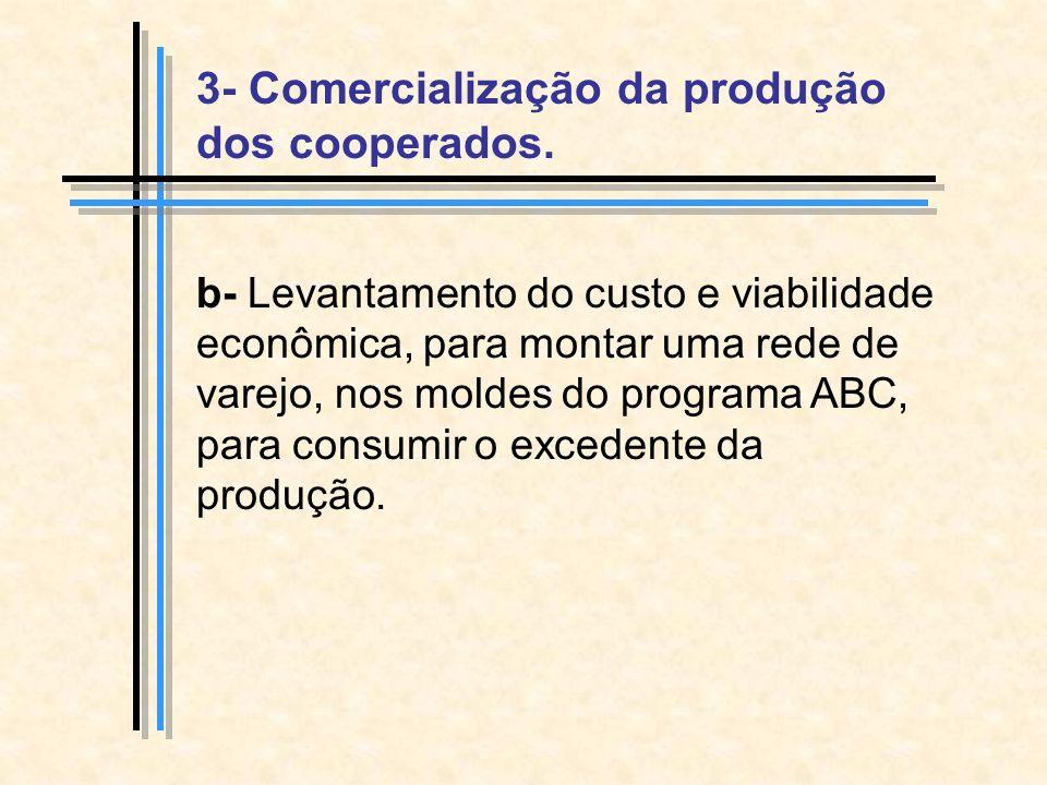 b- Levantamento do custo e viabilidade econômica, para montar uma rede de varejo, nos moldes do programa ABC, para consumir o excedente da produção.