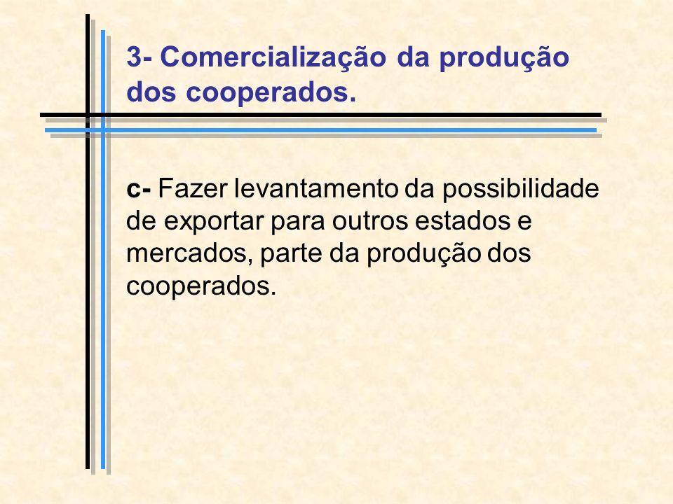 c- Fazer levantamento da possibilidade de exportar para outros estados e mercados, parte da produção dos cooperados.