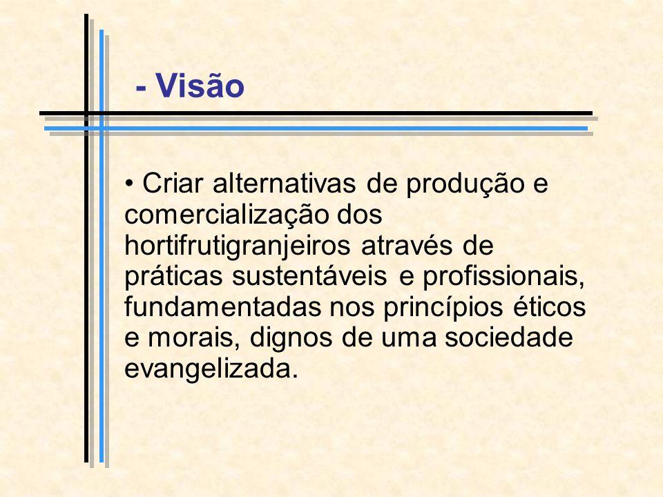 Criar alternativas de produção e comercialização dos hortifrutigranjeiros através de práticas sustentáveis e profissionais, fundamentadas nos princípios éticos e morais, dignos de uma sociedade evangelizada.