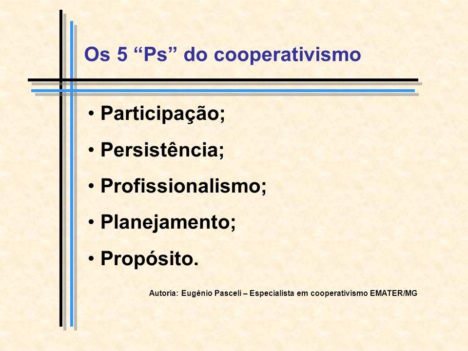 Os 5 Ps do cooperativismo Participação; Persistência; Profissionalismo; Planejamento; Propósito.