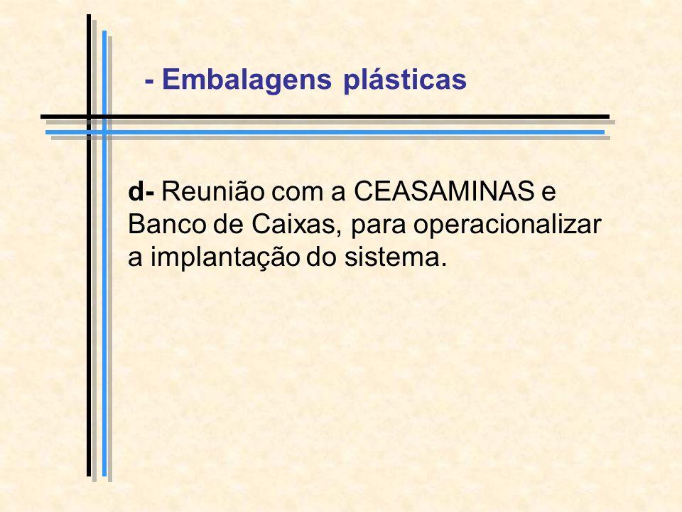 d- Reunião com a CEASAMINAS e Banco de Caixas, para operacionalizar a implantação do sistema.