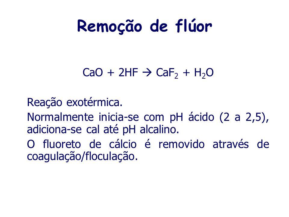 Remoção de flúor Os níveis de fluoretos nos efluentes são controlados para o descarte, bem como deve-se controlar os níveis de flúor enviados para o t