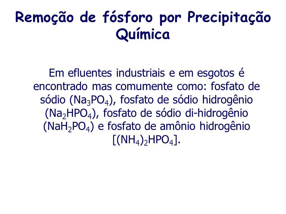 Remoção de fósforo por Precipitação Química O fósforo (P) é um elemento classificado como não metal, mais comumente encontrado nos estados de oxidação