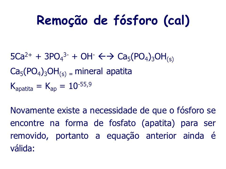 Remoção de fósforo (Alumínio) Existem três reações, em meio aquoso, que consomem o PO 3 -4, produzindo compostos solúveis: PO 3 -4 + H + HPO 4 2- k HP