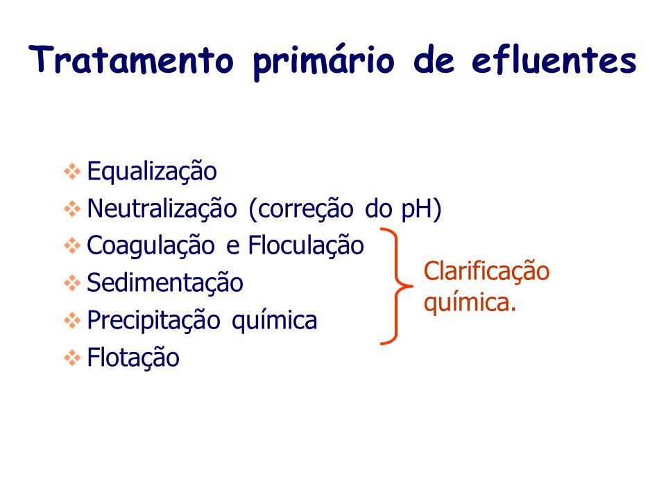 Tratamento primário de efluentes Equalização Neutralização (correção do pH) Coagulação e Floculação Sedimentação Precipitação química Flotação Clarificação química.