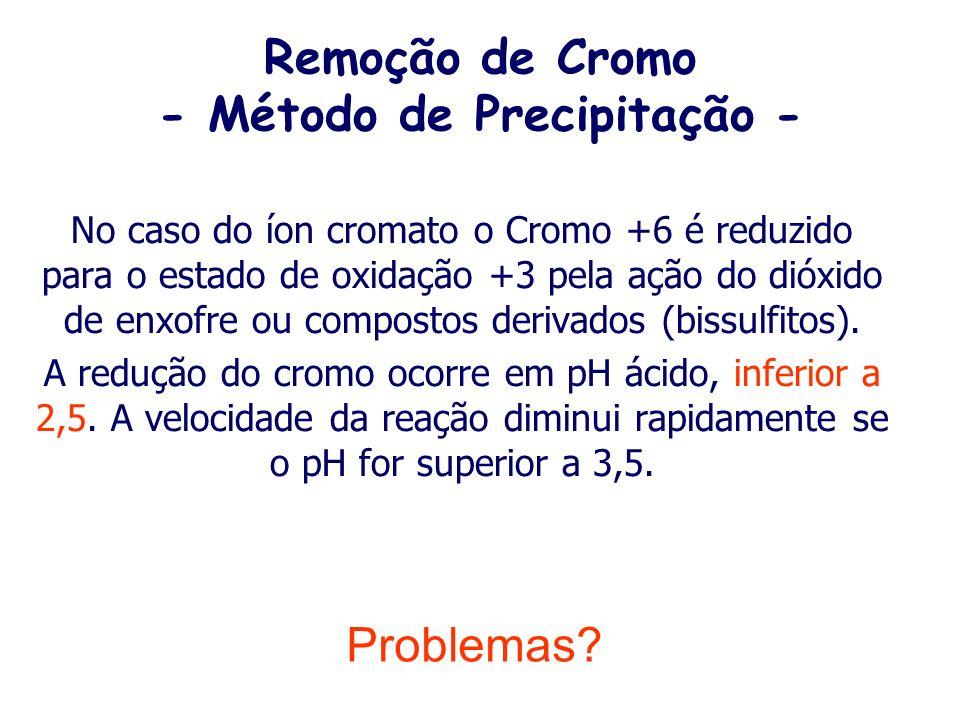 Remoção de Cromo - Método de Precipitação - O cromo na forma hexavalente é solúvel em pH ácido ou alcalino. Para que ocorra a sua remoção é necessário