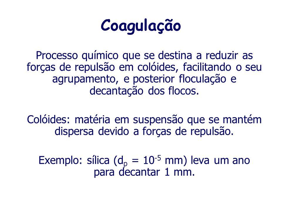 Coagulação Processo químico que se destina a reduzir as forças de repulsão em colóides, facilitando o seu agrupamento, e posterior floculação e decantação dos flocos.
