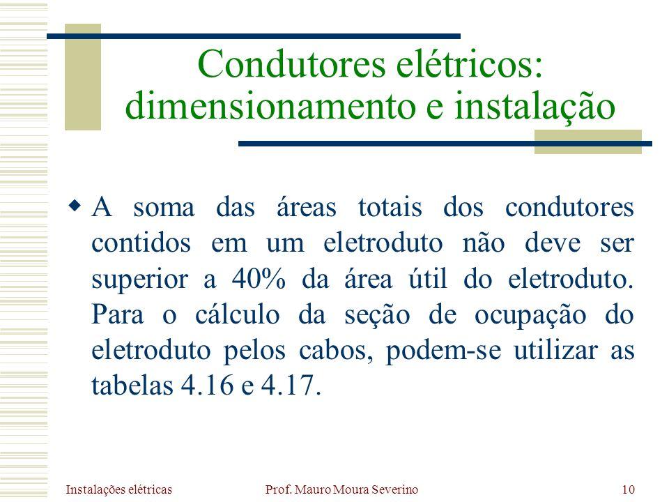 Instalações elétricas Prof. Mauro Moura Severino10 A soma das áreas totais dos condutores contidos em um eletroduto não deve ser superior a 40% da áre
