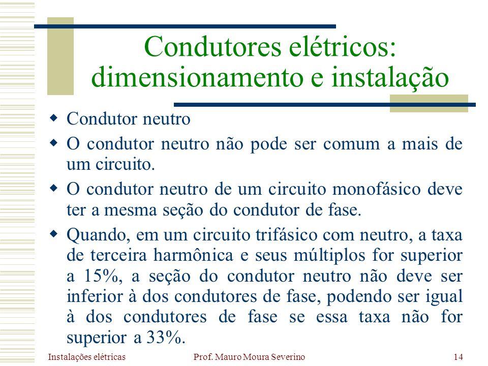 Instalações elétricas Prof. Mauro Moura Severino14 Condutor neutro O condutor neutro não pode ser comum a mais de um circuito. O condutor neutro de um