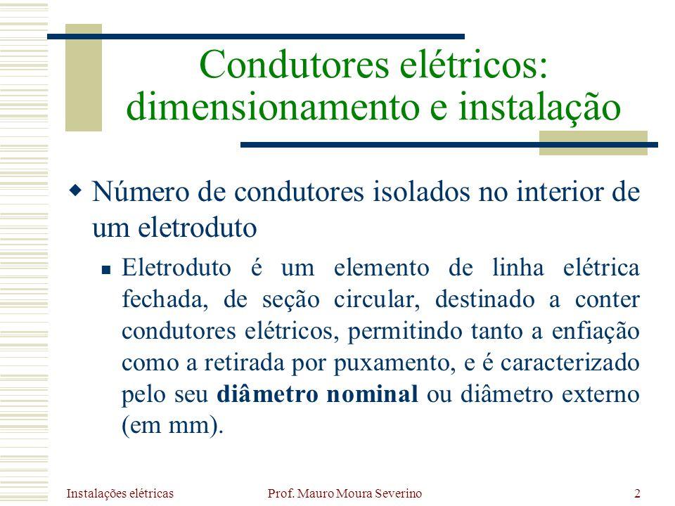 Instalações elétricas Prof. Mauro Moura Severino2 Número de condutores isolados no interior de um eletroduto Eletroduto é um elemento de linha elétric