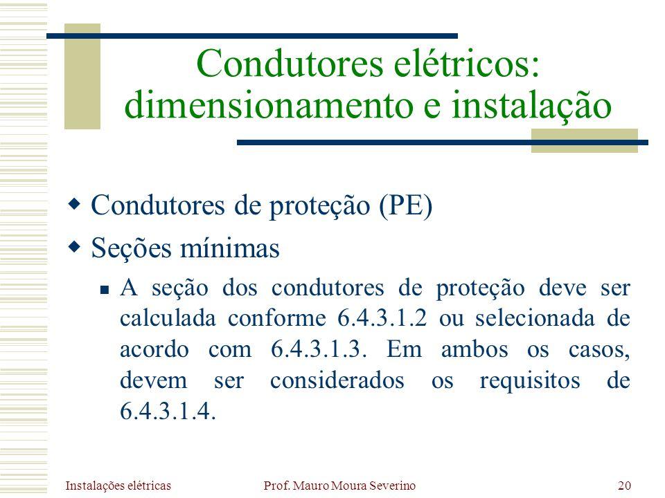 Instalações elétricas Prof. Mauro Moura Severino20 Condutores de proteção (PE) Seções mínimas A seção dos condutores de proteção deve ser calculada co