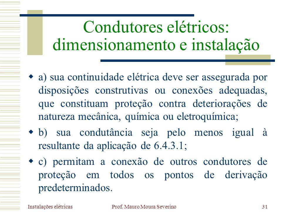 Instalações elétricas Prof. Mauro Moura Severino31 a) sua continuidade elétrica deve ser assegurada por disposições construtivas ou conexões adequadas