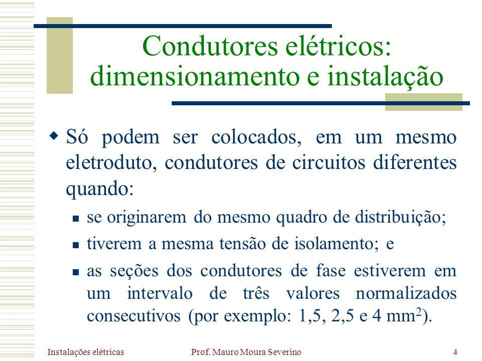 Instalações elétricas Prof. Mauro Moura Severino4 Só podem ser colocados, em um mesmo eletroduto, condutores de circuitos diferentes quando: se origin
