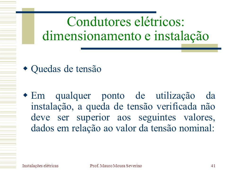 Instalações elétricas Prof. Mauro Moura Severino41 Quedas de tensão Em qualquer ponto de utilização da instalação, a queda de tensão verificada não de