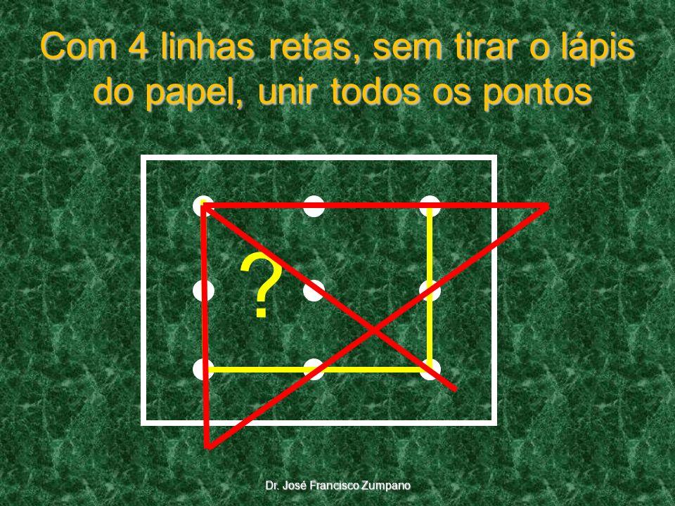 ? Dr. José Francisco Zumpano Com 4 linhas retas, sem tirar o lápis do papel, unir todos os pontos