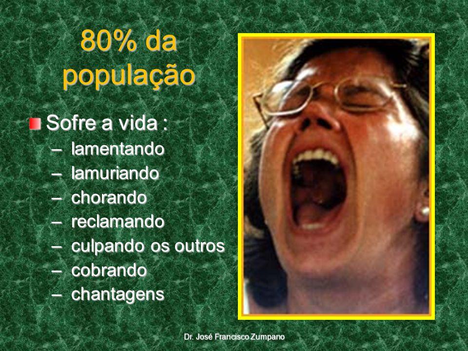 80% da população Sofre a vida : – lamentando – lamuriando – chorando – reclamando – culpando os outros – cobrando – chantagens Dr. José Francisco Zump