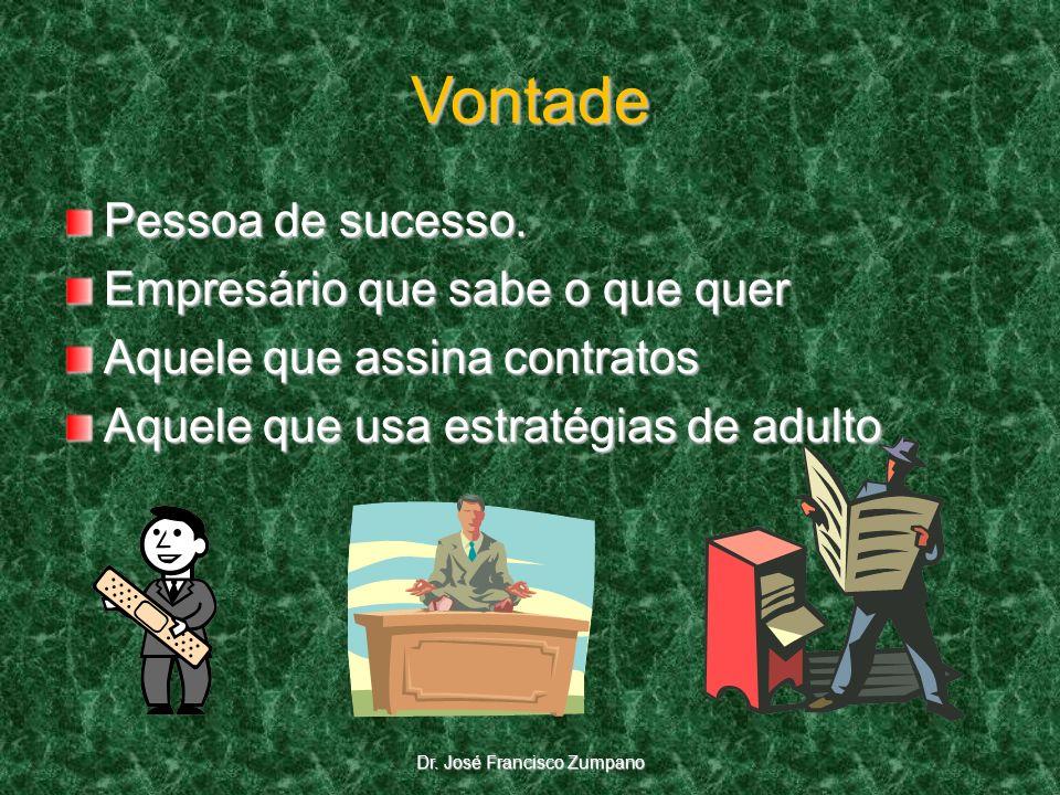 Vontade Pessoa de sucesso. Empresário que sabe o que quer Aquele que assina contratos Aquele que usa estratégias de adulto Dr. José Francisco Zumpano