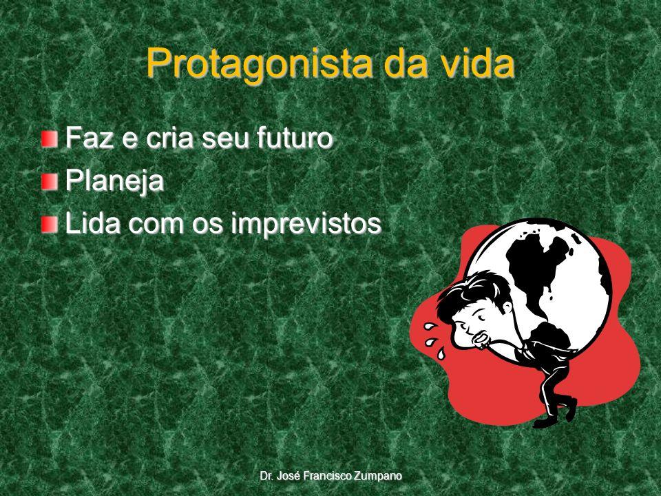 Protagonista da vida Faz e cria seu futuro Planeja Lida com os imprevistos Dr. José Francisco Zumpano