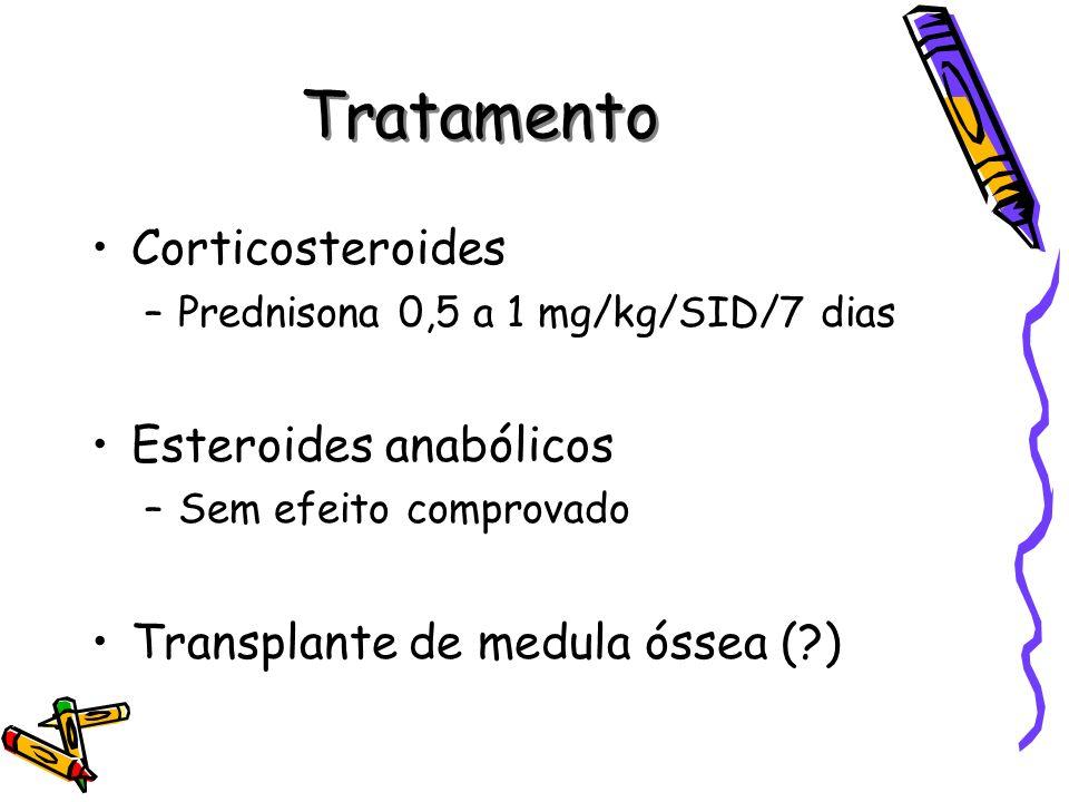 Tratamento Corticosteroides –Prednisona 0,5 a 1 mg/kg/SID/7 dias Esteroides anabólicos –Sem efeito comprovado Transplante de medula óssea (?)