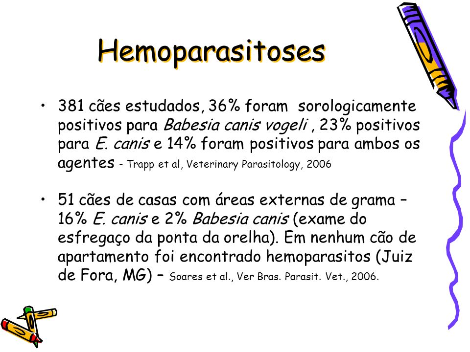 Hemoparasitoses 381 cães estudados, 36% foram sorologicamente positivos para Babesia canis vogeli, 23% positivos para E. canis e 14% foram positivos p