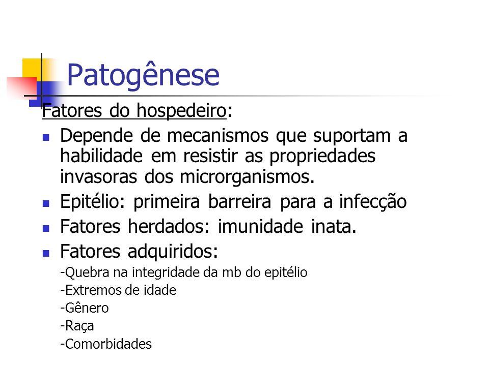 Patogênese Fatores do hospedeiro: Depende de mecanismos que suportam a habilidade em resistir as propriedades invasoras dos microrganismos. Epitélio: