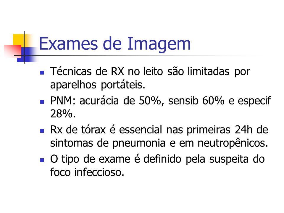 Exames de Imagem Técnicas de RX no leito são limitadas por aparelhos portáteis. PNM: acurácia de 50%, sensib 60% e especif 28%. Rx de tórax é essencia